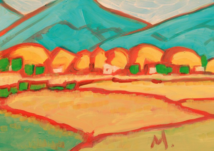 """""""Autumn Valley,"""" oil on panel by Melwell, 5x7"""