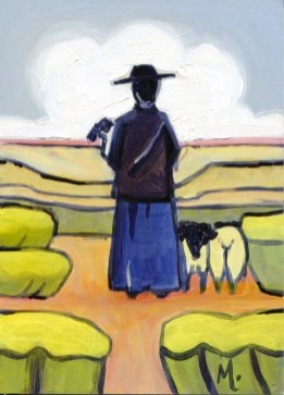 """""""The Shepherdess,"""" oil on panel by Melwell, 7x5"""
