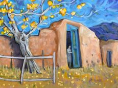 """Check the Back Gate,"" oil on canvas by Melwell, 9x12"