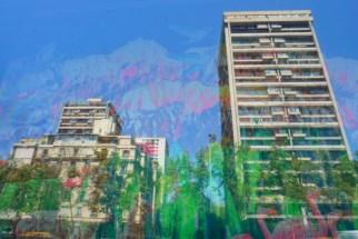 paula garrido installation viewed through reflection in window