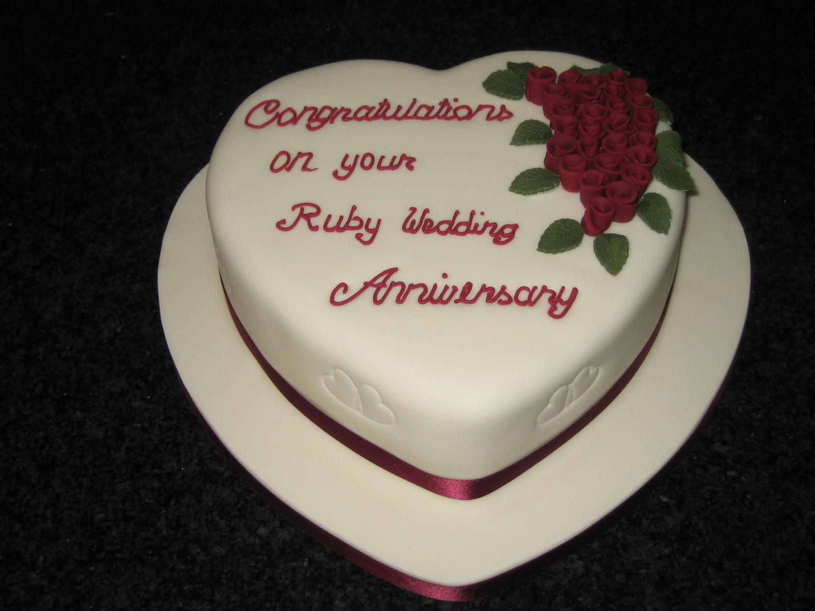 Ruby Heart Anniversary Cake