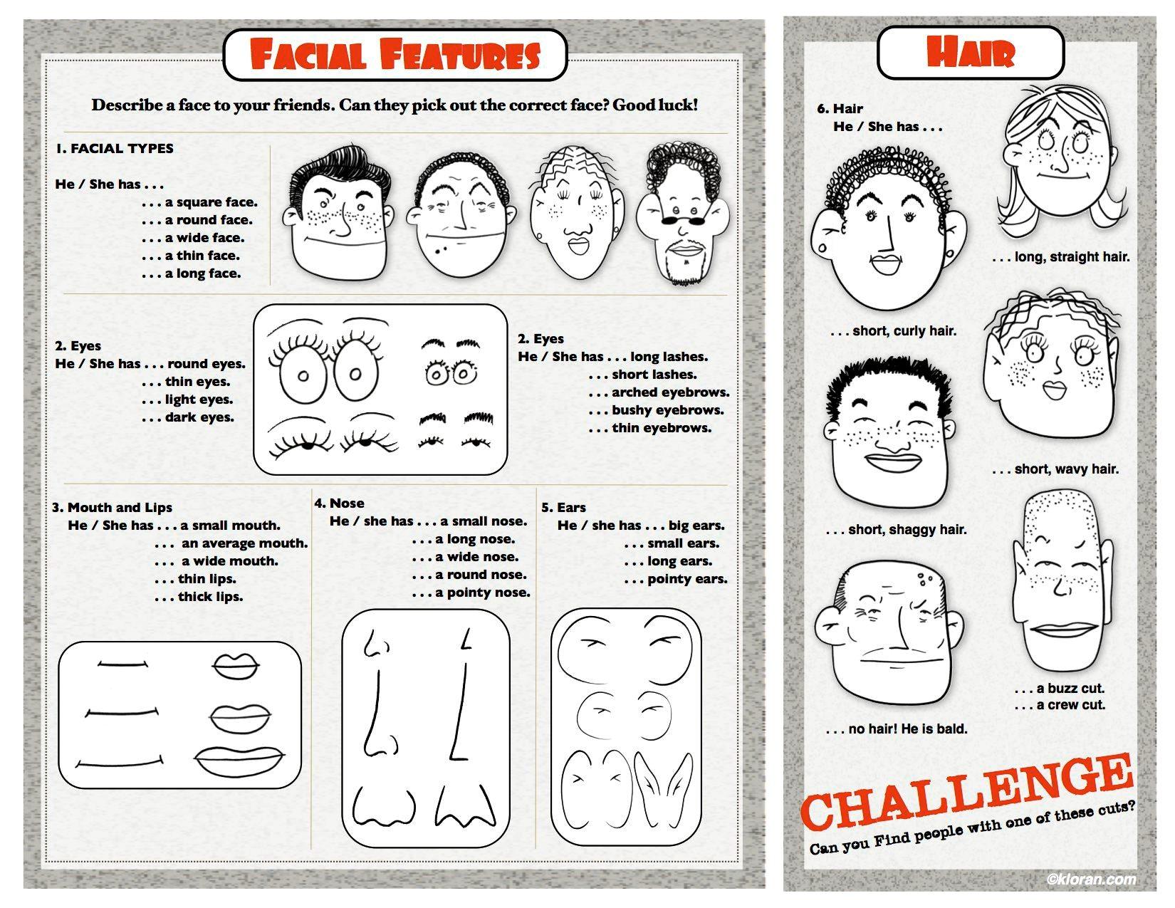 Adjectives To Describe Facial Features
