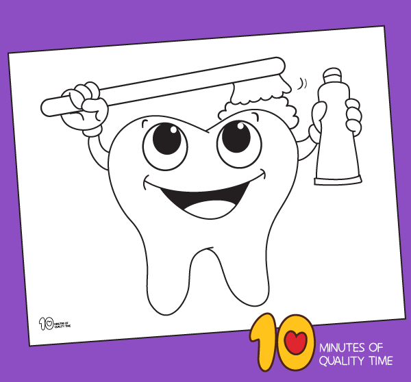 Tooth Brushing Coloring Page 10 Minutes Of Quality Time