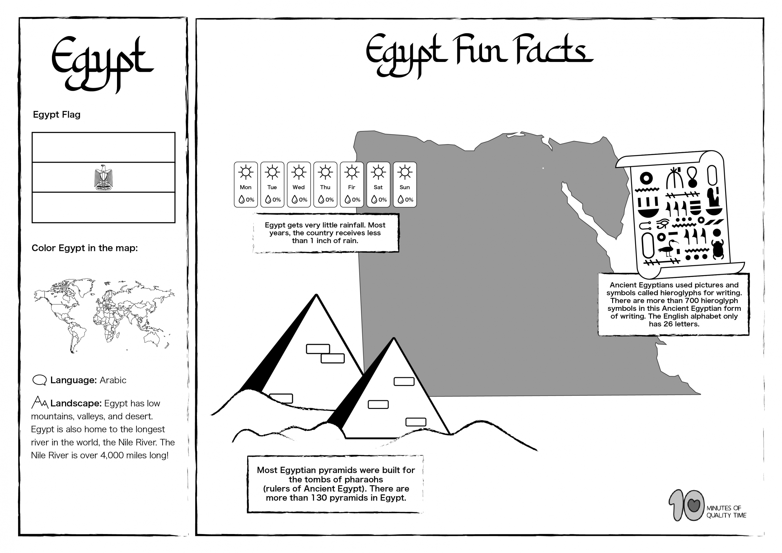 Egypt Free Lesson Plan And Worksheets 10 Minutes Of