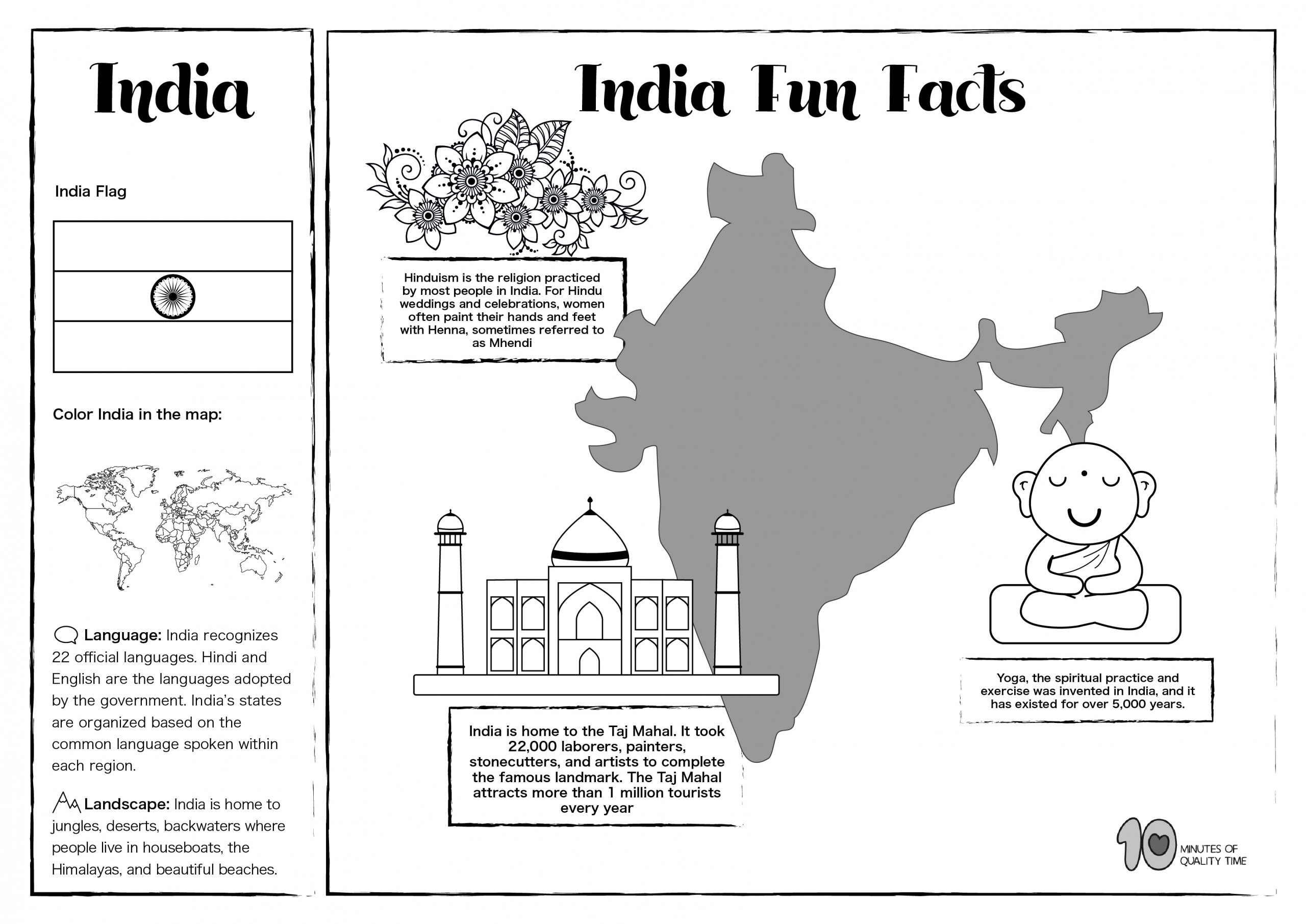India Free Lesson Plan And Worksheets 10 Minutes Of