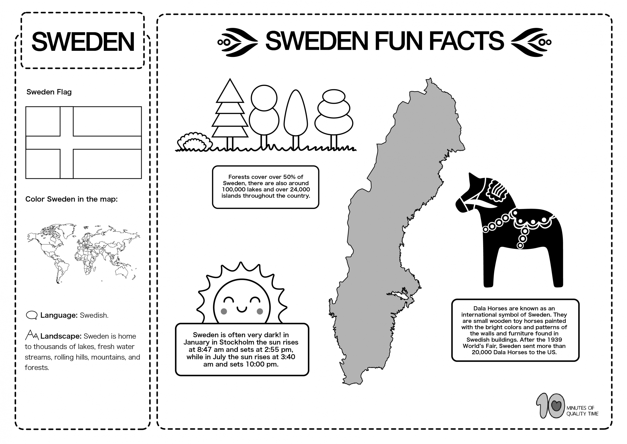 Sweden Free Lesson Plan And Worksheets 10 Minutes Of
