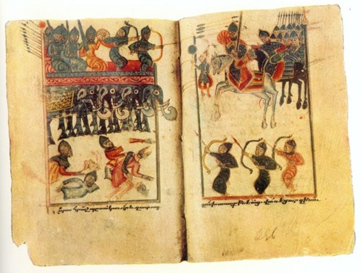A medieval Armenian miniature representing the Sasanian War elephants in the Battle of Vartanantz.