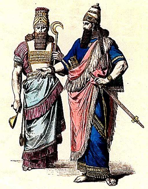 Illustration of an Assyrian High Priest and an Assyrian King.