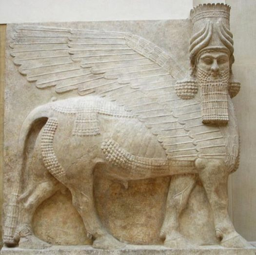 An Assyrian winged bull, or lamassu, from Sargon's palace at Dur-Sharrukin.