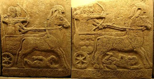 Battle chariot, Carchemish, 9th century BC; Late Hittite style with Assyrian influence.