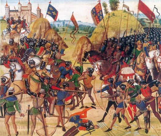 Battle of Crécy between the English and French in the Hundred Years' War. 15th century.