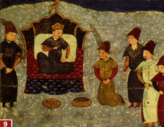Batu Khan on the throne. Batu Khan was a Mongol ruler and founder of the Golden Horde. Batu was a son of Jochi and grandson of Genghis Khan.