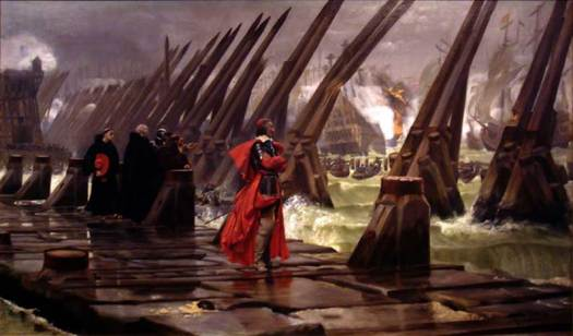 Cardinal Richelieu at the Siege of La Rochelle, a result of a war between the French royal forces of Louis XIII the Huguenots of La Rochelle, at the height of the tensions between the Catholics and the Protestants in France.