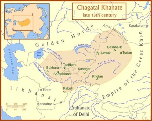 The Chagatai Khanate and its neighbors in the late 13th century. (CC BY 3.0)