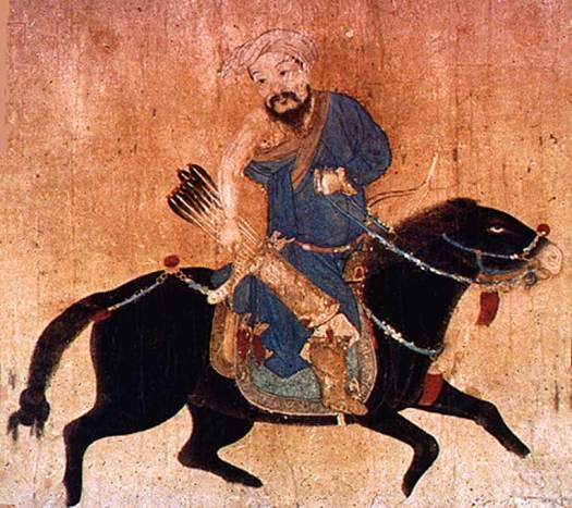 Drawing of a mobile Mongol soldier with bow and arrow wearing deel. The arms could be uncovered in hot weather.