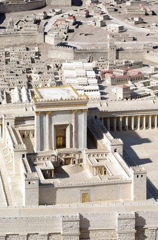 The Hebrew Bible says that the First Temple was built in 957 BCE by King Solomon, but destroyed by Babylonians in 586 BCE. The above is Herod's Temple (or the second temple said to be built atop the first) as imagined in the Holyland Model of Jerusalem.