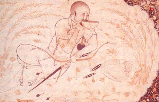 Hulagu Khan with the older composite bow used during the time of the Mongol conquest. It is smaller in size and has no string bridges.