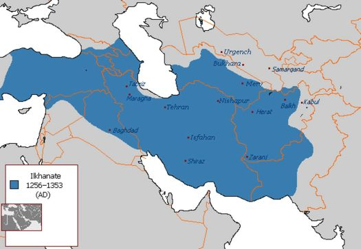 Ilkhanate, part of the Mongol Empire located primarily across modern Iran, as led by Hulegu.