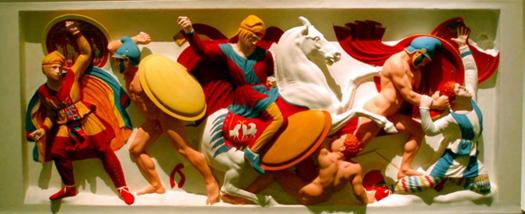 Immortals fighting Alexander's troops. Color reconstruction of the original reliefs on the Alexander Sarcophagus, in Istanbul.