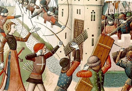 15th-century depiction of Joan of Arc leading an assault on an English fort at the siege of Orléans.