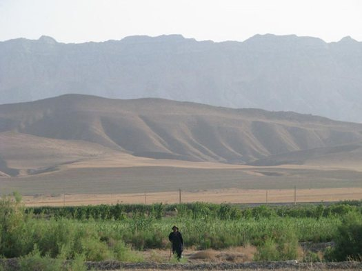 View on the Kopetdag mountains from the Ahal plain, Turkmenistan.