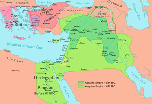 Map of the Neo-Assyrian Empire and its expansions - dark green shows the empire in 824 BCE, light green in 671 BCE.