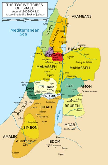 Map of the twelve tribes of Israel, before the move of Dan to the North.