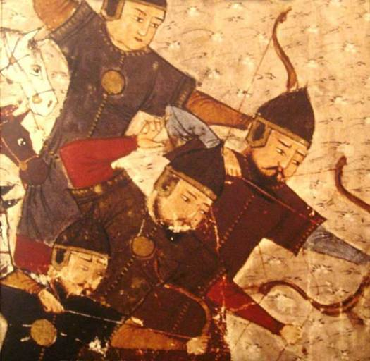 Mongol soldiers using bows