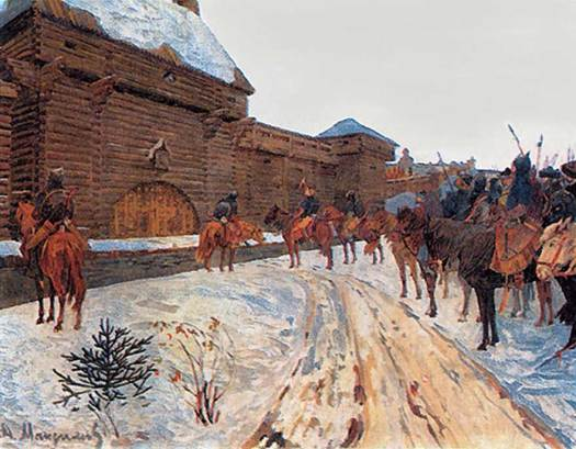 Mongols cavalry outside Vladimir presumably demanding submission before its sacking