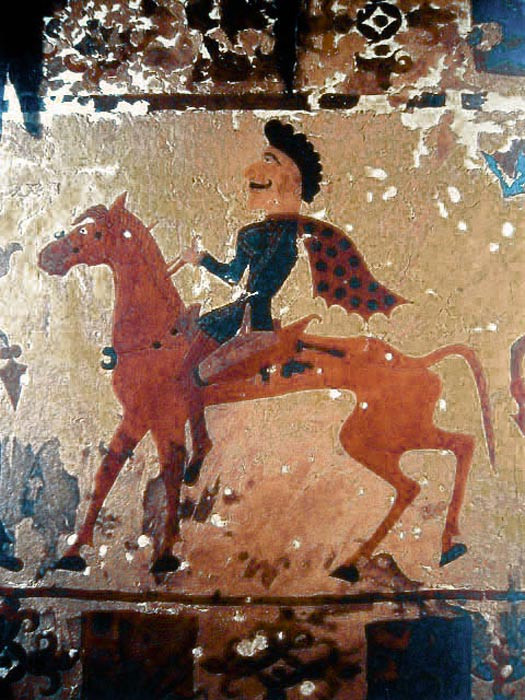 Nomadic Pazyryk horseman in a felt painting from a burial around 300 BC.