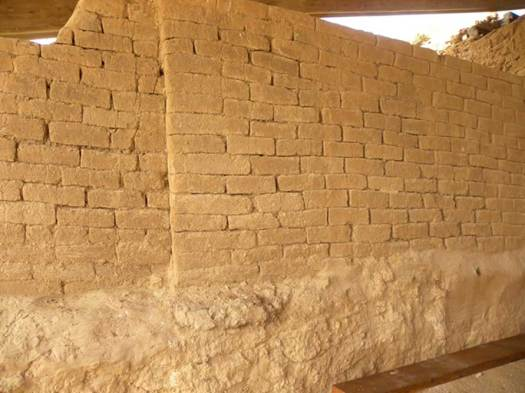Outer gate wall at Ashkelon. Original mud bricks of the outer gate structure of Philistine Ashkelon. The bricks are from the middle bronze age, roughly 4000 years ago.