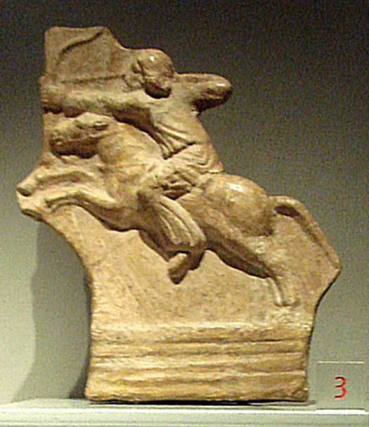 Relief of Parthian horseman, a highly skilled warrior, performing a Parthian shot.