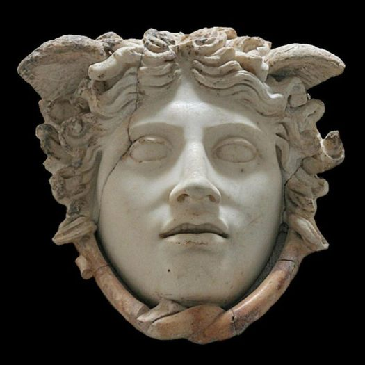 """Rondanini Medusa"". Marble, Roman copy after a fifth century BC Greek original by Phidias, which was set on the shield of Athena Parthenos."