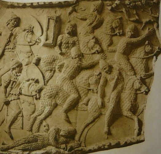 A depiction of Sarmatian cataphracts fleeing from Roman cavalry during the Dacian wars circa 101 AD, at Trajan's Column in Rome (Public Domain). One man has fallen from his horse, the greatest danger for a cataphract.