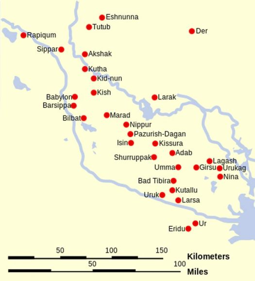 Map with the locations of the main cities of Sumer and Elam. (Modern Iraq)