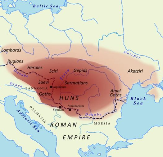 The extent of the Hunnic Empire