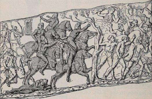 Depiction of a battle scene of Trajan's Column: On the left, Parthian horsemen in armor, fleeing before Roman riders.