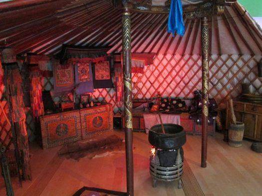 The recreated interior of an ancient Mongolian ger (also known as a yurt), from Genghis Khan: The Exhibition.