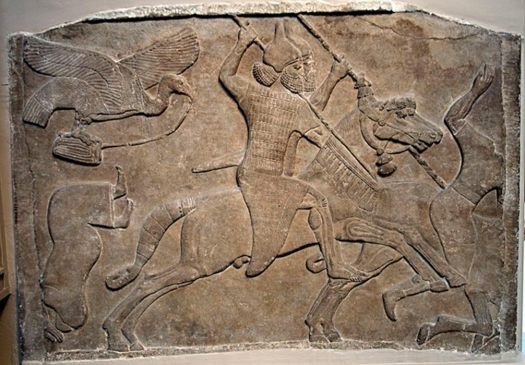 Battle scene with horsemen, Assyrian, about 728 BC, from Nimrud.
