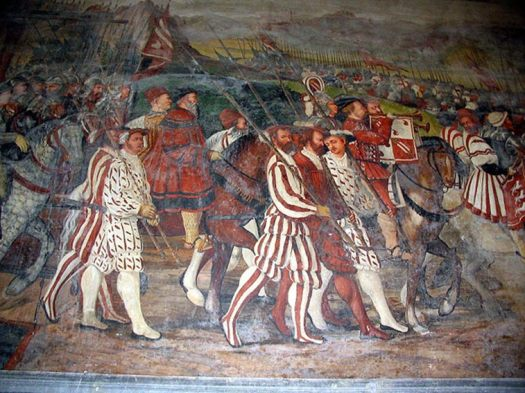 Fresco of Italian soldiers from 1467.
