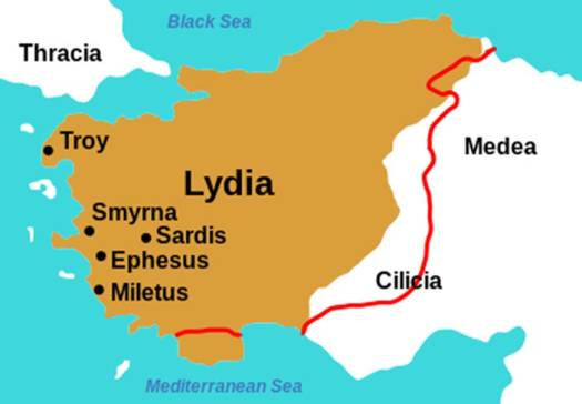 The edge of the brown area is the border of Lydia at the middle of the 6th century BC. The red line is a possible different border of Lydia.