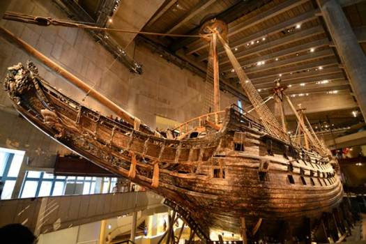 "The prow of the Vasa. ""During the 1961 recovery, thousands of artifacts and the remains of at least 15 people were found in and around the Vasa's hull by marine archaeologists."""