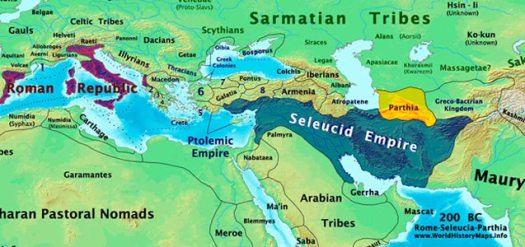 Roman, Seleucid, and Parthian Empires in 200 BC.