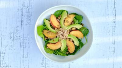 Warm Barley Salad with Peaches