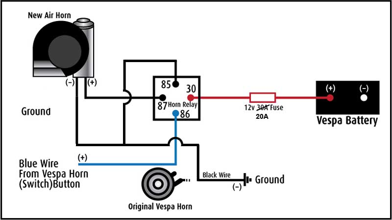 Two Wire Horn Relay Diagram | Repair Manual  Pin Relay Wiring Diagram Horn on