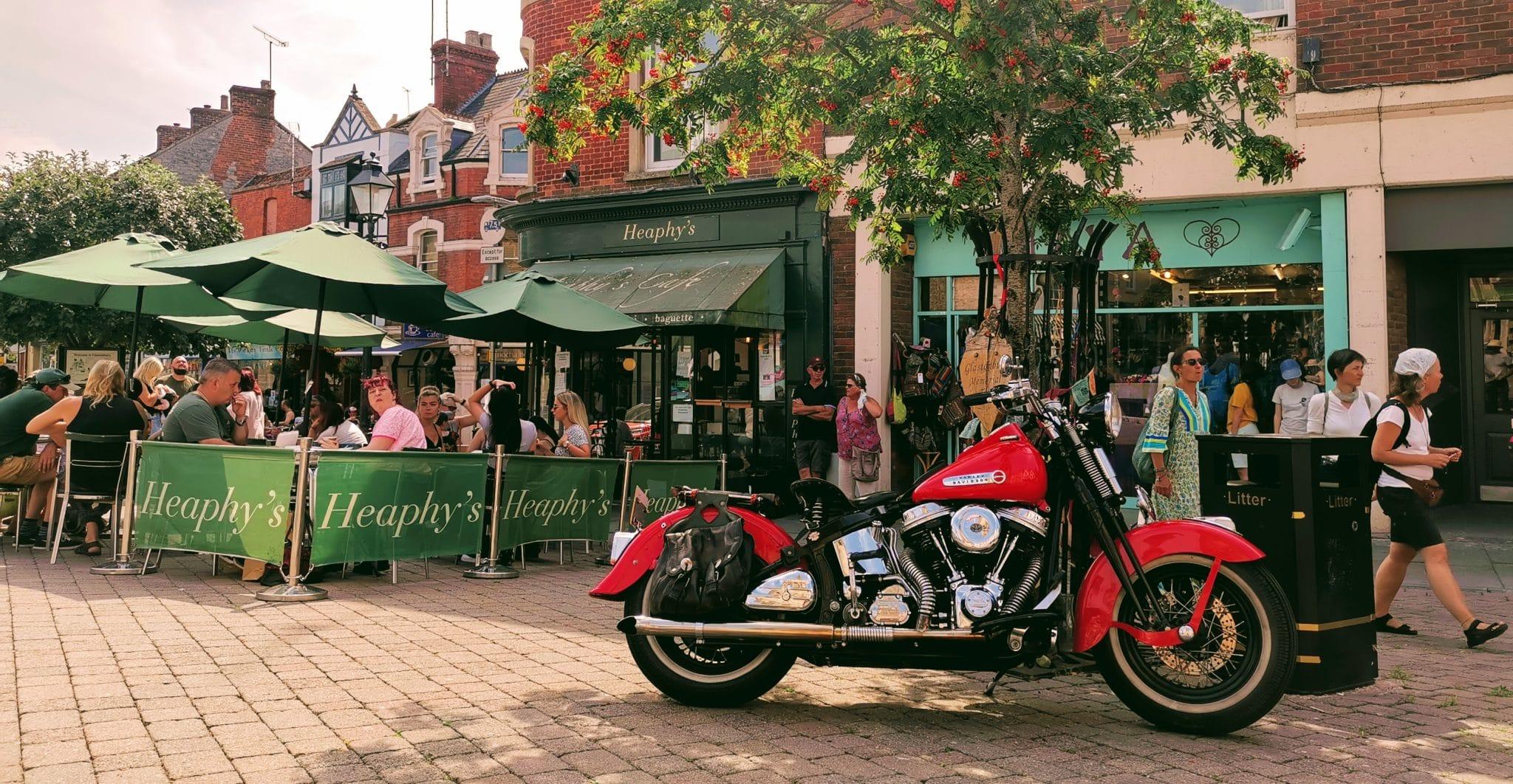 Harley davidson on Glastonbury market place