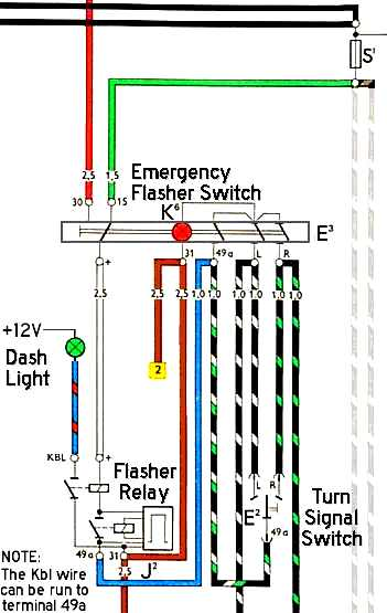 1968 vw beetle emergency flasher relay wiring diagram