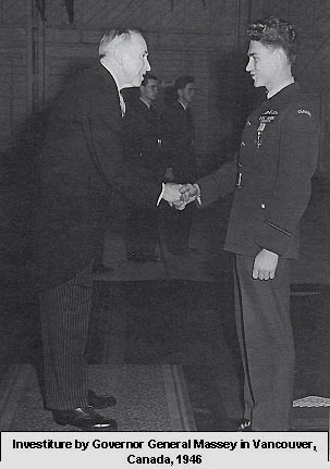 Investiture by Governor General Massey,<br /><br /><br /><br /> Vancouver, Canada 1946