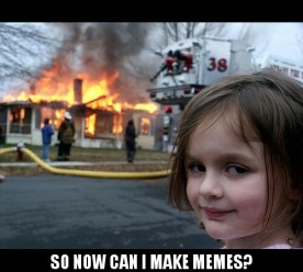 Disaster Girl macro character as made on Meme Generator for Android by ZomboDroid
