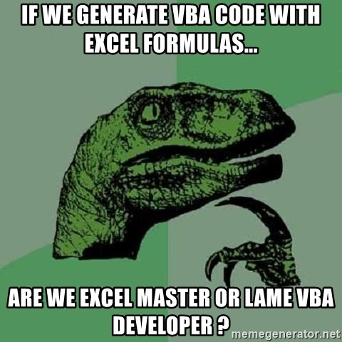 If We Generate Vba Code With Excel Formulas Are We Excel Master